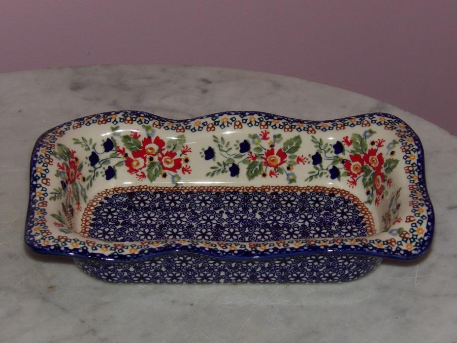 Genuine UNIKAT Polish Pottery Rectangle Wavy Baker Baker! Zoey Pattern!