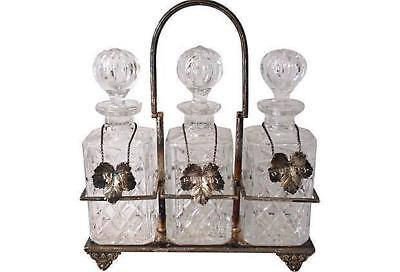 Antique Three Bottle Liquor Set Tantalus Silver Cut Crystal Liquor Labels Whisky