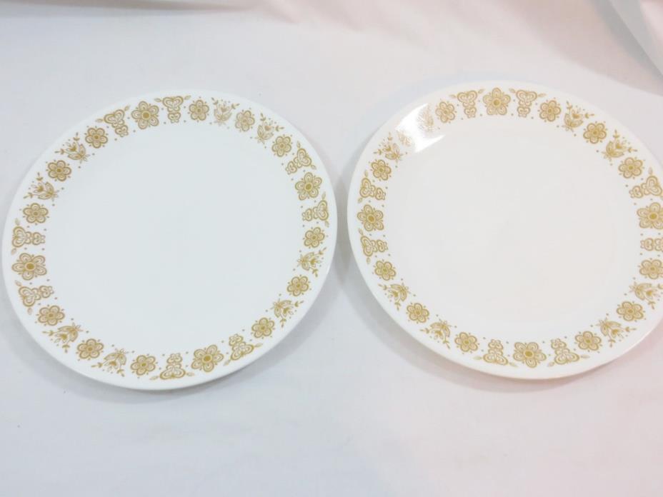 CORELLE CORNING GOLD BUTTERFLY DINNER PLATES SET OF 2