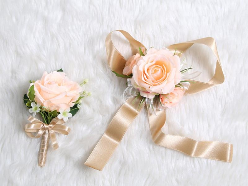 Wedding Prom Wrist Corsage Single Silk rose and Boutonniere Set Pin Ribbon Inclu