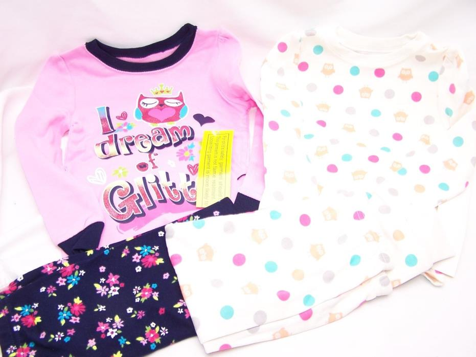 OWL 4 PC Toddler Girl Cotton Tight Fit Shirt Pants Pajama Set 3T Polka Dot PJ
