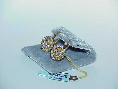 18K .75CT Diamond Circle Cluster Earrings Lever Back Yellow Gold New Tag $2300