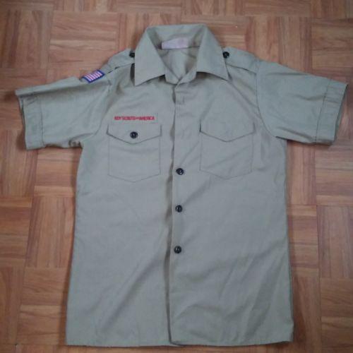 BOY SCOUT OFFICAL sz L  14-16  KHAKI Uniform SHIRT ~  Cotton Polyester  USA