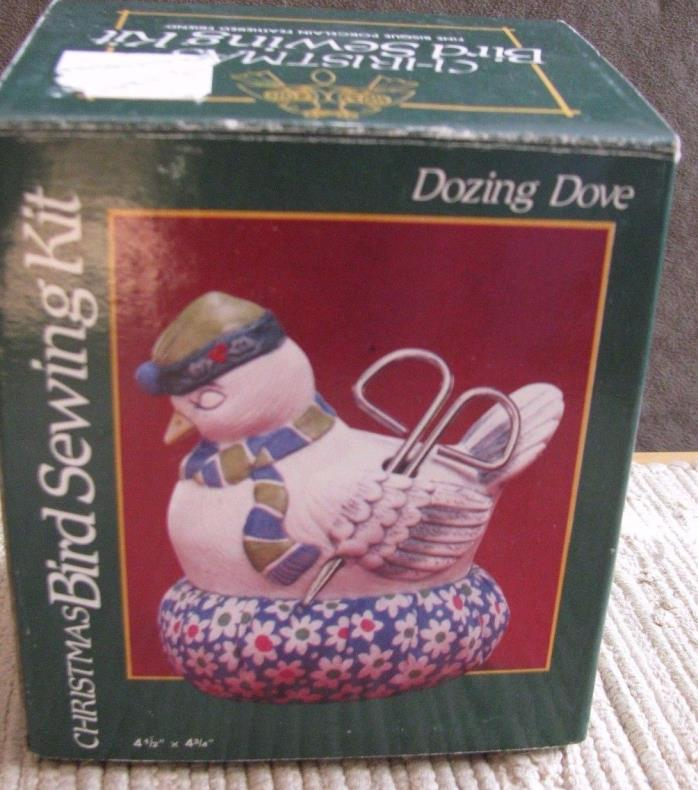 Jasco VTG Porcelain Dozing Dove Christmas Bird Sewing Kit Pin Cushion #585 NIB