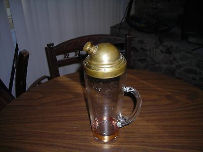 PRE-1950 Antique Gold inlayed Glass Decanter with Brass Lid/pourer