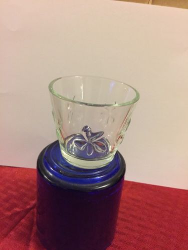 Vintage Juice or Oversized Shot Glass 2.5 Inch Clear with Raised Daisies
