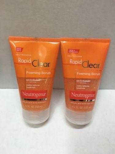 Lot of 2 Neutrogena Rapid Clear Foaming Scrub Face Scrub 4.2 Fl. Oz.
