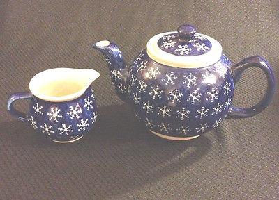 Vintage Boleslawiec Pottery Cobalt Blue Snow Flake Teapot + Creamer- Poland
