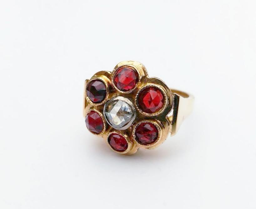 Vintage Estate Antique Edwardian Garnet & Rose Cut Diamond 18k Yellow Cluster Be