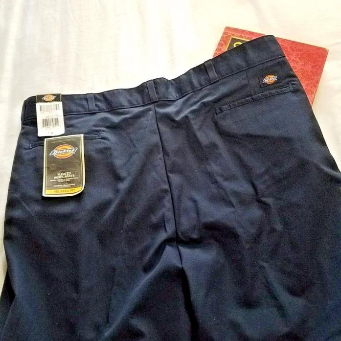 Dickies size 44 Men's Pleated Work Pants Navy BLUE Relaxed Fit Cotton Polyester