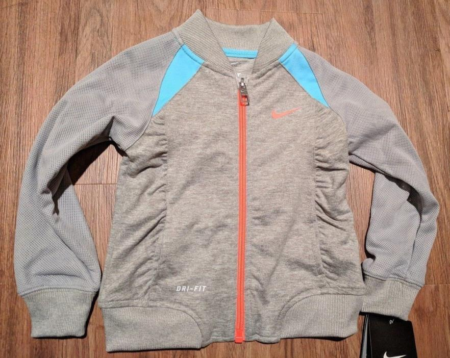 NWT Toddler Girl Nike Dri-Fit Full Zip Track Jacket Grey Heather 2T