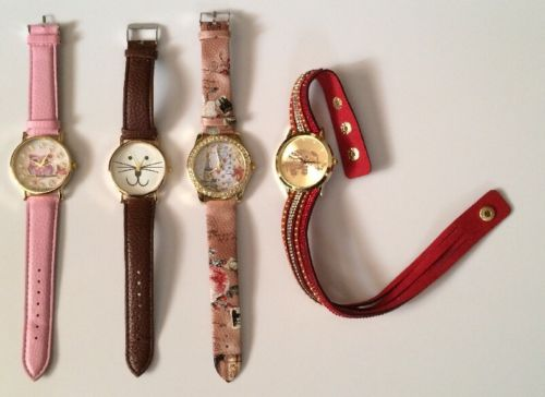 Lot Of 4 Non-Working Chinese Watches Owl Cat Elephant Paris Pink Brown Red