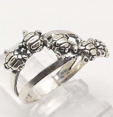 Cute Turtles Design Sterling Silver 925 Ring 4g Sz.8 Y2116