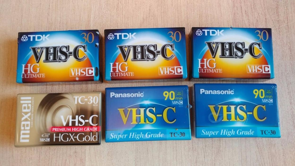 LOT of 6 Brand New VHS-C Blank Tapes - Panasonic, Maxell, TDK --- FREE Shipping