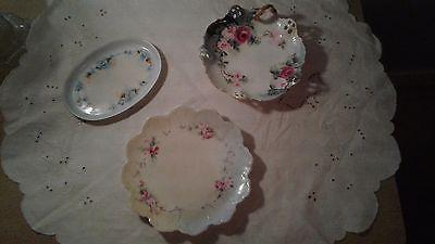 Set of 3 Austria/Bavaria porcelain dresser/tea plates, florals, EUC ! circa 1940