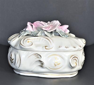 Vintage Cordey French Porcelain Pink Roses Dresser Lidded Trinket Box