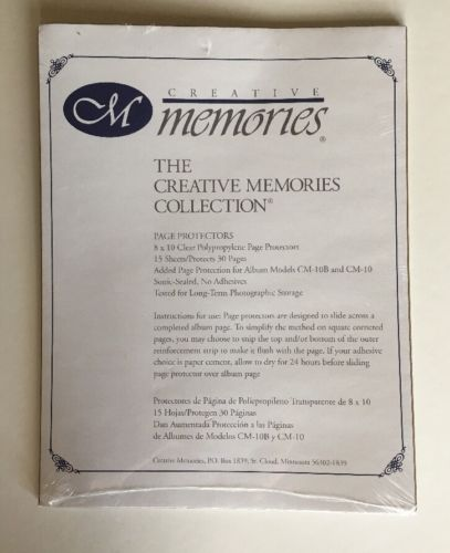 Creative Memories 8x10 Clear Page Protectors -15 Sheets - Protects 30 Pages