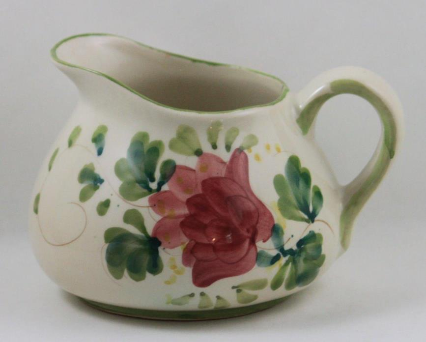 Portugal Hand Painted Pitcher Floral Design Antique White