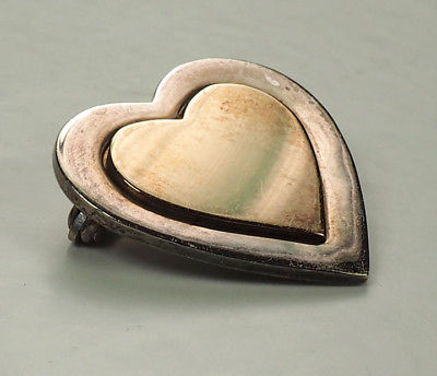 Tiffany and Co 18K yellow gold on sterling silver Heart pin