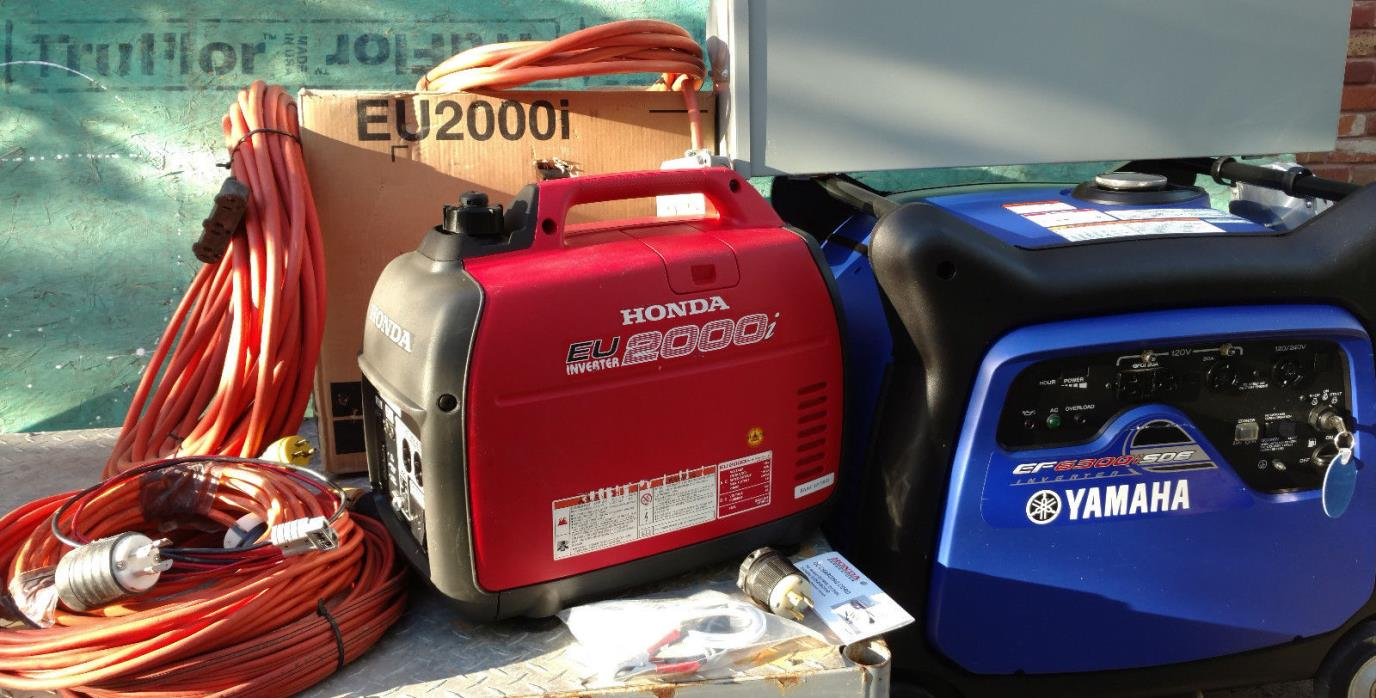 Yamaha EF6300i SDE and Honda EU2000i Tri Dual Fuel LP NG Gasoline Inverter Gener