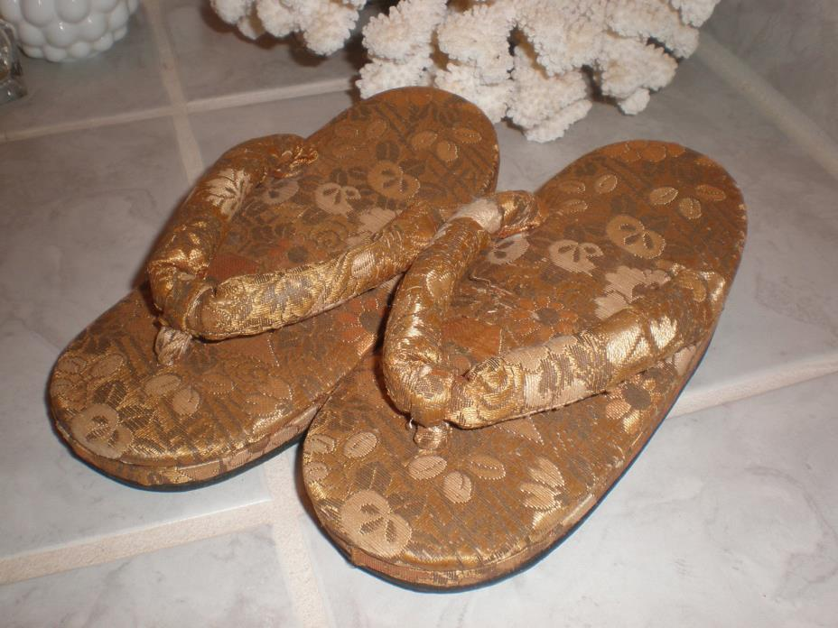 Japanese Antique Childrens Thongs Shoes Gold Damask Provenance
