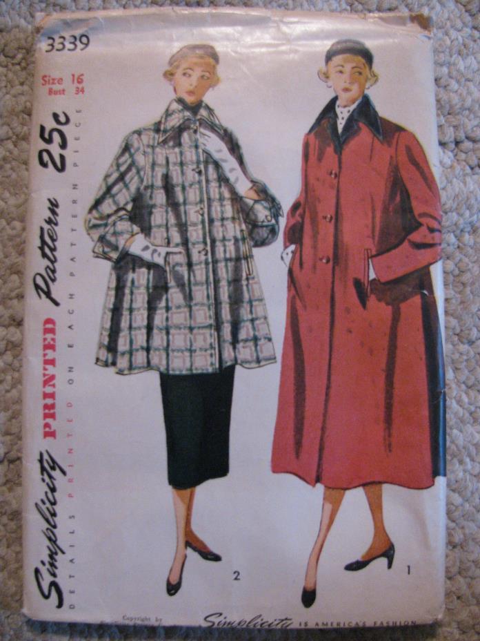 1950's Women's Coat-Short & long style Simplicity Sewing Pattern #3339 sz16/34