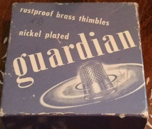Vintage Box of Guardian Rust Proof Nickel Plated Brass Thimbles