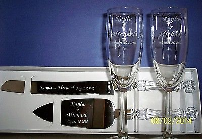 wedding cake server acrylic handle set & wedding toasting flutes personalized