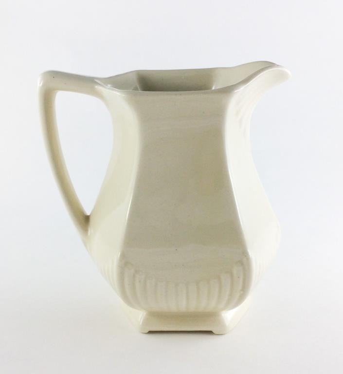 Off White Small Ceramic Juice Pitcher 28 Ounce
