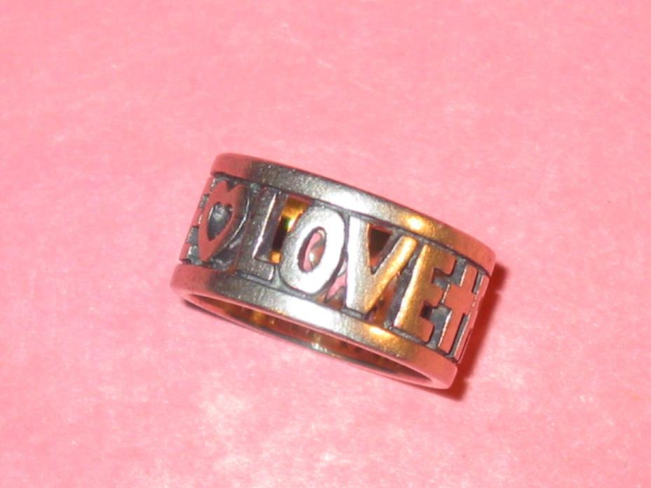 JAMES AVERY Band Ring ~ Sterling ~ FAITH ~ HOPE ~ LOVE ~ Size 7 ~ Hand Made