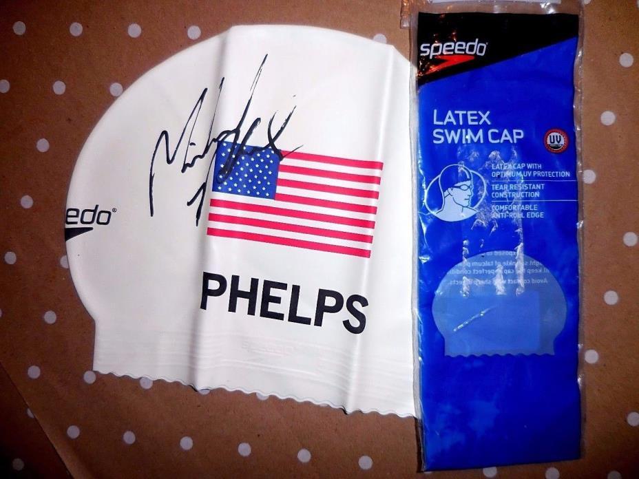 SPEEDO 2008 MICHAEL PHELPS Signature U.S.A  Flag SWIM CAP  New Original Pkg !
