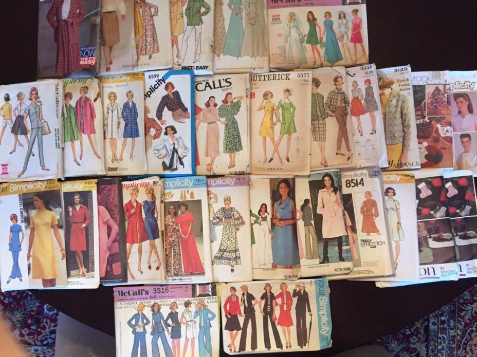 Lot of 64 Vintage Sewing Patterns 10 12 Wedding Dress Pants Coat 60s 70s