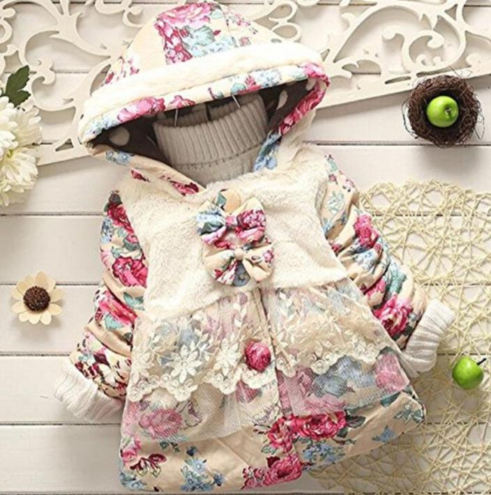 Baby Girl Floral Bowknot Thickened Warm Jacket Toddler Winter Coat