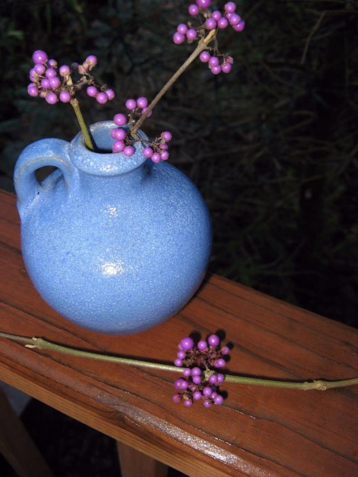 1934 FLOWER SHOW 1st prize! tiny blue stoneware JUG~garden~pottery vtg~country~