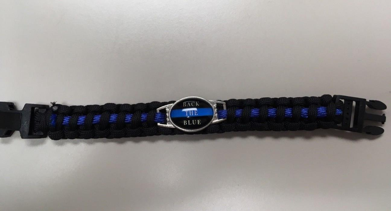 #BacktheBlue #ThinBlueLine Paracord Bracelet Heavy Duty #PoliceLivesMatter #FOP