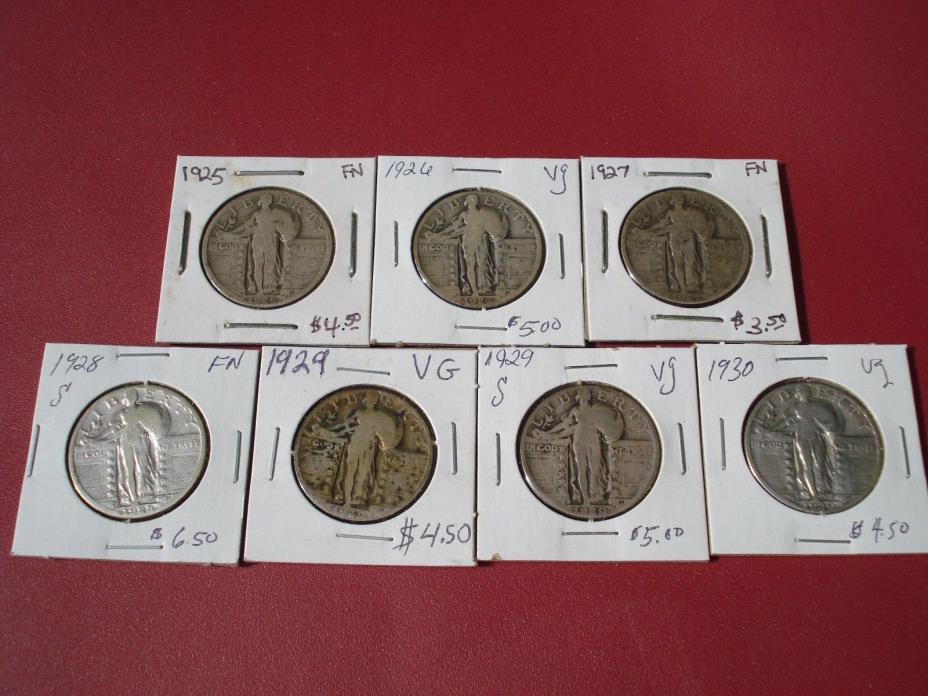 SEVEN STANDING LIBERTY QUARTERS 1925 19261927 1928 S 1929 1929 S 1930
