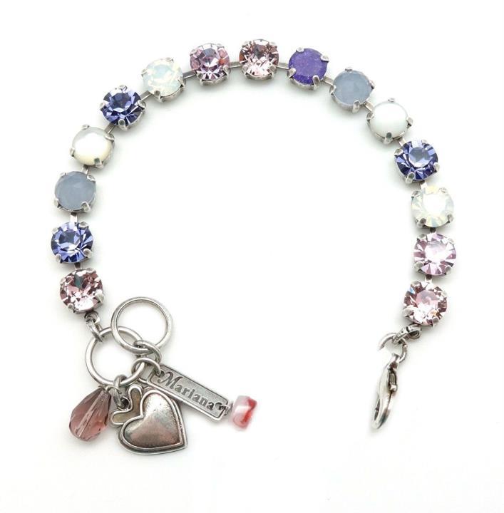 MARIANA Swarovski Silver Bracelet Amethyst White Mix with MoP M1062 Purple Rain