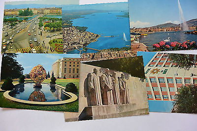 Postcard 6 Geneva Switzerland Sites Lake Street Hotel Midi Monument Unposted