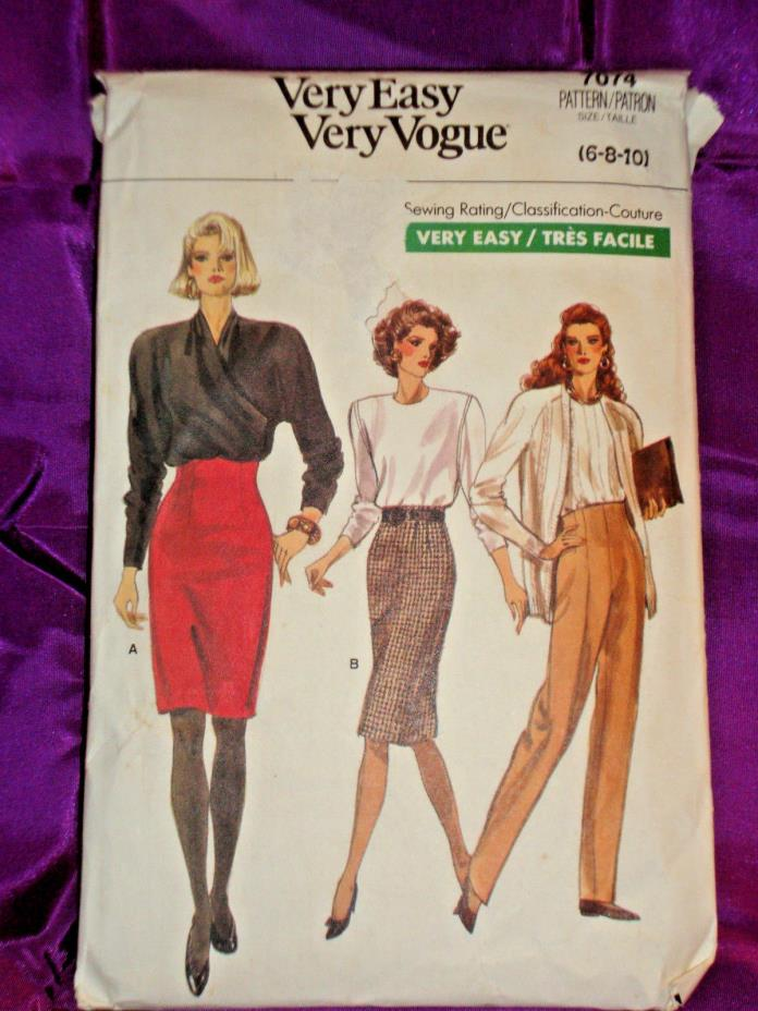 80s High Wst Slim Skirt 2 Lngths n Tapered Pants FF Vogue 7074 Wst 23 24 25 EASY