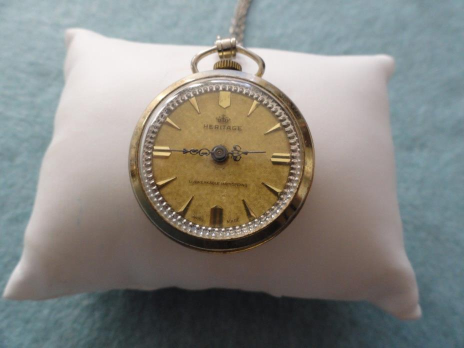 Vintage Swiss Made Mechanical Wind Up Heritage Necklace Pendant Watch - Not Work