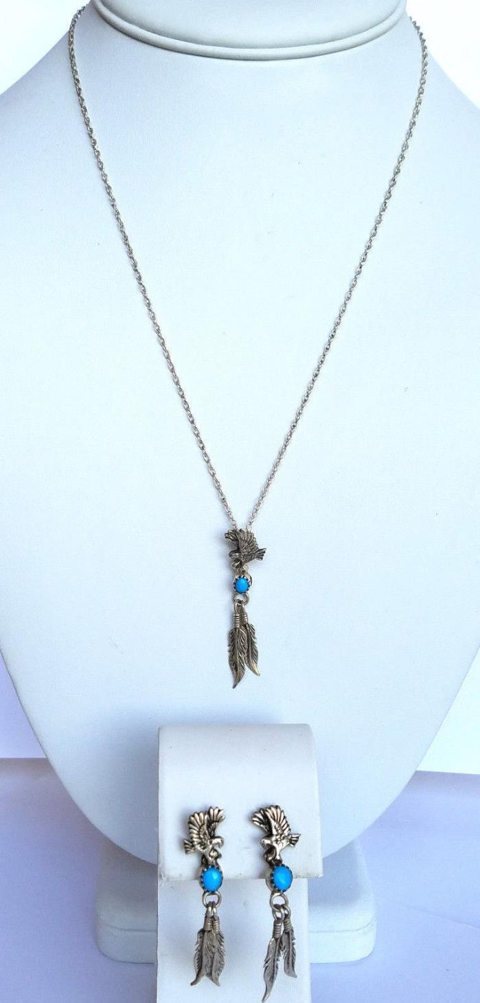 Southwestern Eagles & Feathers Turquoise Pendant Necklace & Pierced Earrings RB