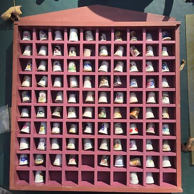 VTG china porcelain thimbles Lot of 92 plus display case, Delft, Disney, more!