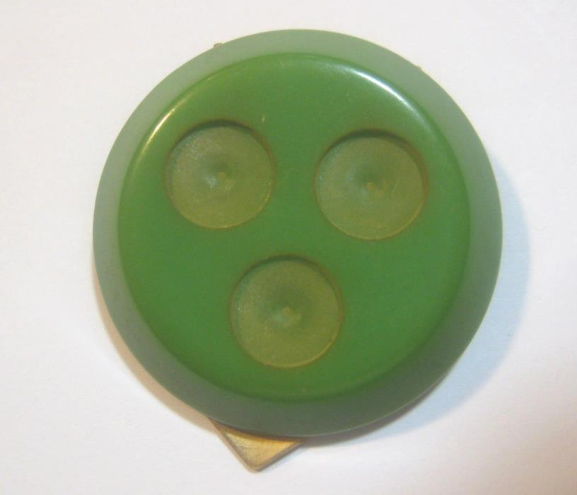 1 Vintage Mid Century Bakelite Dress or Scarf Clip Base; Green, Unused Old Stock
