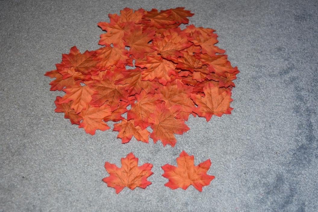 Artificial Fall Maple Leaves for Fall Weddings & Autumn Décor Red Orange mix 75+