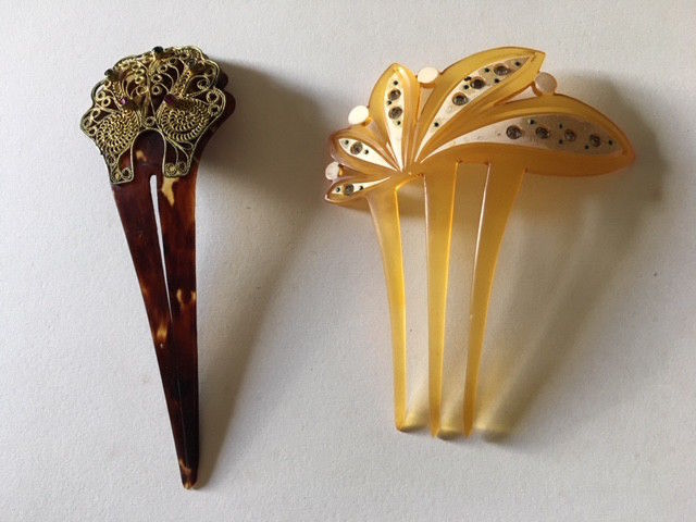 Japanese Kanzashi Traditional Hair Accessory Vintage Lot of 2