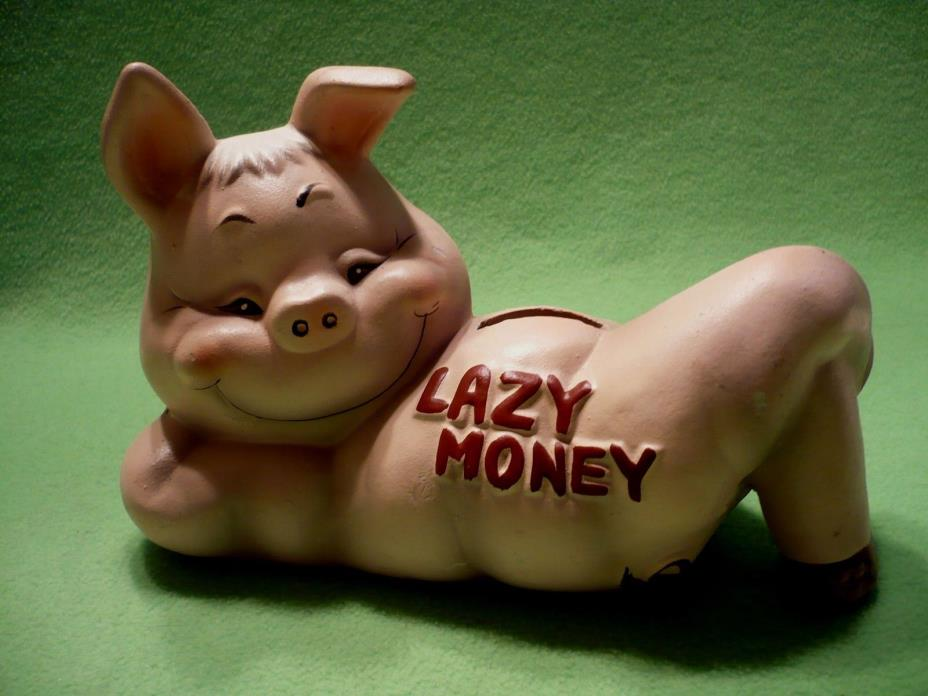 Vintage ' Lazy Money ' PIG piggy bank by Wales Pottery. Sly looking pig waiting