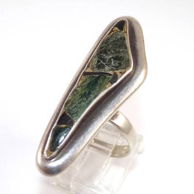 Long Sterling Silver Vintage Antique Modernist Turquoise Ring Size 6