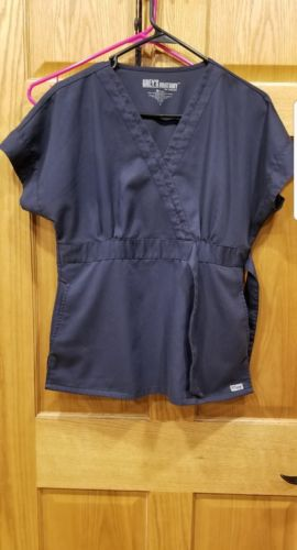 Grey's Anatomy Scrub Shirt Top Mock Wrap Size Small Heartbeat Design Steel