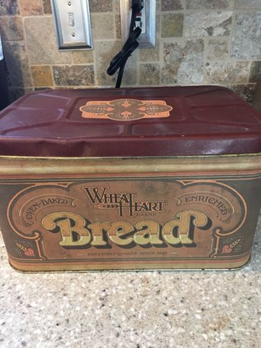 Vintage 1977 Wheat Heart Tin Metal Breadbox Bread Box