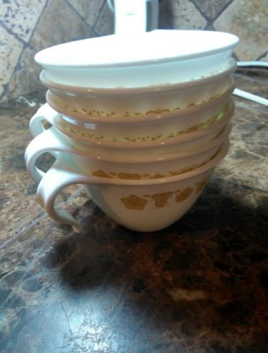 Corelle Corning Pyrex Butterfly Gold Vintage Set  Hook Handle Cups FREE SHIPPING